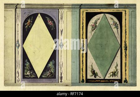 Design for room decoration with two panels with a window in yellow and green. Draughtsman: Abraham Meertens. Dating: 1767 - 1823. Measurements: h 195 mm × w 314 mm. Museum: Rijksmuseum, Amsterdam. - Stock Photo