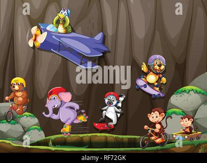 Set of wild animal extreme sport illustration - Stock Photo