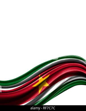 Suriname flag on cloth isolated on white background. - Stock Photo