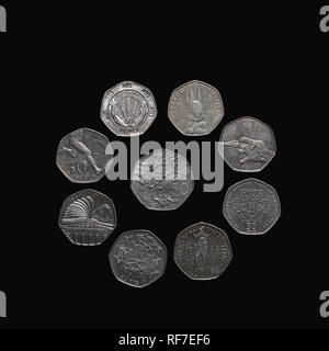 Collection of commemorative UK 50 pence coins. - Stock Photo