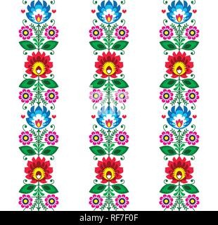 Floral seamless folk art vector pattern - Polish traditional design with flowers - Wycinanki Lowickie . Retro decoration with flowers, Slavic - Stock Photo