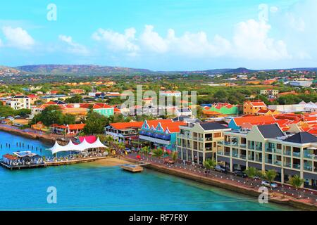 Kralendijk, Bonaire, Caribbean - February 22nd 2018: A view over Kralendijk the capital of Bonaire, taken from the top of a cruise ship docked in port - Stock Photo