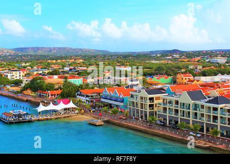 Kralendijk, Bonaire, Caribbean - February 22nd 2018: A view over Kralendijk the capital of Bonaire, taken from the top of a cruise ship docked in port - Stock Photo