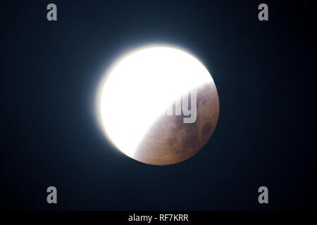 Moon eclipse day 2018, Exposed version that show details on shadow part, taken with large newtonian telescope in black background. - Stock Photo