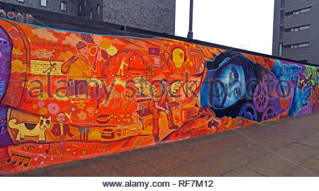 Doodle on Ducie Street / Store Street, by New York Street Artist, and Homeless Manchester Artists, near Piccadilly, UK, M1 2JQ - Stock Photo