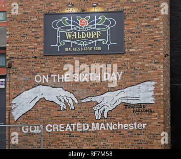 On the 6th Day God Created Manchester, Gable end,The Waldorf Pub Bar, Gore St, Piccadilly, Northern Quarter, Manchester, UK, M1 3AQ - Stock Photo