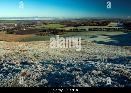 The West Lothian countryside from Cockleroy Hill, Beecraigs Country Park, near Linlithgow, West Lothian - Stock Photo