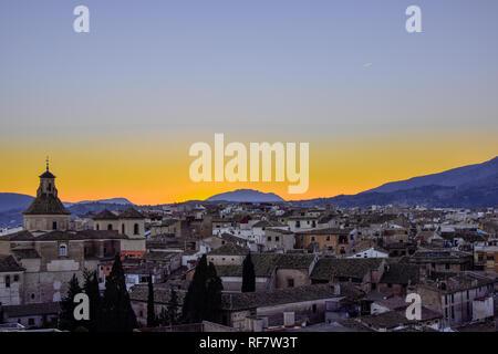 Townscape against idyllic sky in Caravaca de la Cruz, Spain - Stock Photo