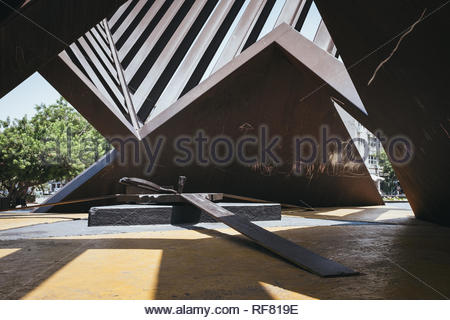 The Holocaust Monument Rabin Square in Tel Aviv, Israel. - Stock Photo