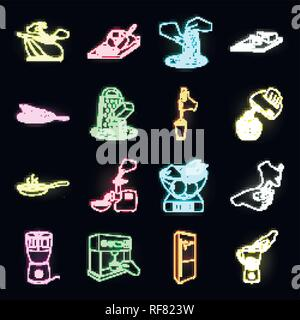 Cooking food neon icons in set collection for design. Kitchen, equipment and tools vector symbol stock  illustration. - Stock Photo