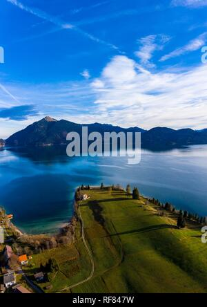 Drone shot, Kochel am See, Walchensee, Upper Bavaria, Bavaria, Germany - Stock Photo