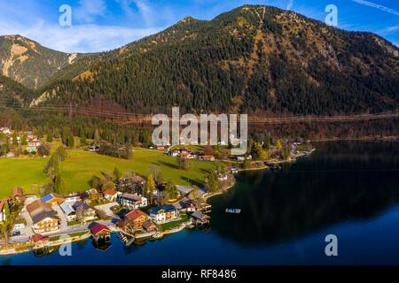 Drone shot, Walchensee, Upper Bavaria, Bavaria, Germany - Stock Photo