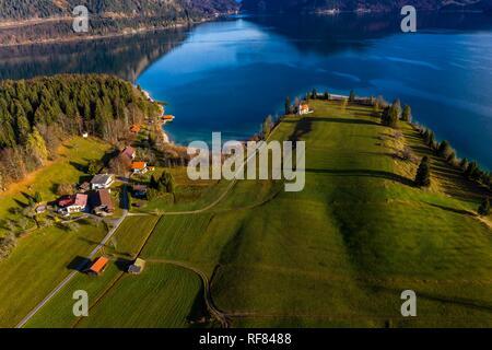 Drone shot, Walchensee, Upper Bavaria, Bavaria, Germany - Stock Photo