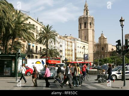 ESP, Spain, Valencia : Old town, Plaza de la Reina, Torre del Miguelete, bell tower of the cathedral - Stock Photo