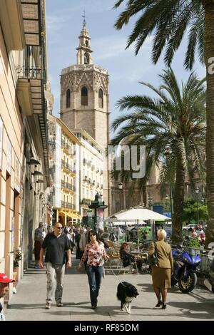 ESP, Spain, Valencia : Oldtown, Plaza de la Reina, Torre del Miguelete, bell tower of the cathedral - Stock Photo