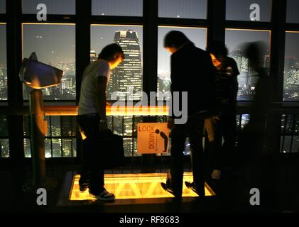 View from Tokyo Tower, Daimon and Shiba district at night, Tokyo, Japan, Asia - Stock Photo