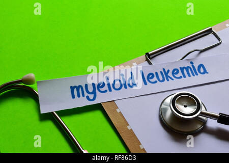 Myeloid leukemia on healthcare concept inspiration with green background - Stock Photo