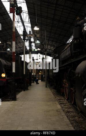 Inside Museo Nazionale della Scienza e della Tecnologia Leonardo da Vinci. The  Rail Transport Pavillon. Milano, January 23th, 2019 - Stock Photo