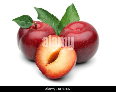 Red plums with leaves isolated on white background - Stock Photo