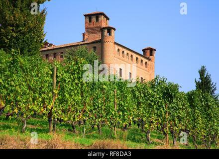 Castello Cavour castle in Grinzane Cavour, Barolo Region, Piedmont, Italy, Europe - Stock Photo