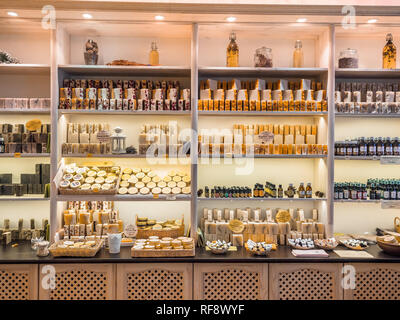 MOSCOW, Russia - January 19, 2019: Bars of soap on a shop window. Different soaps with natural cedar oil, turpentine and herbal ingredients. Handmade  - Stock Photo
