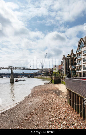 View upriver to Millennium and Blackfriars bridges from the North Bank of the River Thames, London, UK - Stock Photo