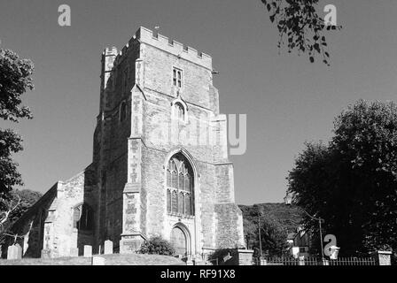 All Saints church tower in Hastings Old Town, East Sussex, Southern England - Stock Photo