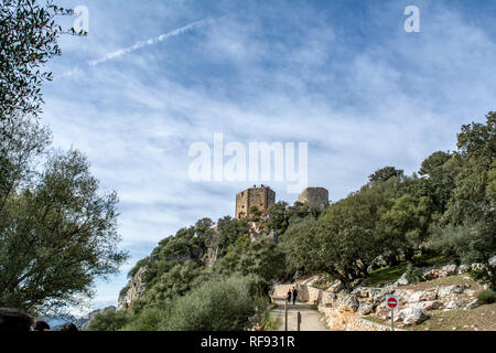 View of the castle of the Monfrague National Park in the province of Caceres in Extremadura Spain - Stock Photo