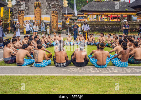 BALI - 2018 MAY 20: traditional Balinese Kecak dance at Ulun danu Temple. - Stock Photo