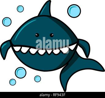 Blue Shark and Bubbles on white background. Cartoon character for print on t-shirts, sweatshirts, T-shirts, gifts. Vector illustration for clothes or - Stock Photo