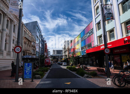 Scenes from colourful Cuba Street in downtown Wellington, New Zealand - Stock Photo