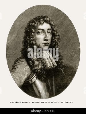 Anthony Ashley Cooper, First Earl of Shaftesbury, English Victorian Engraving, 1887 - Stock Photo