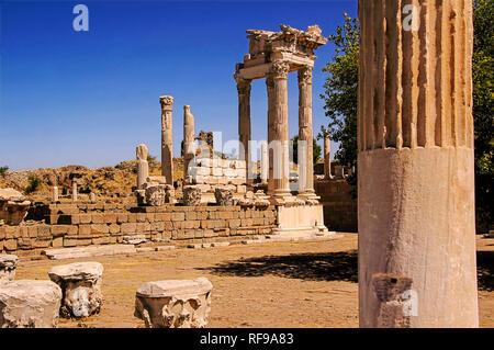 UNESCO World Heritage Hellenistic Greco-Roman site. Trajan temple at Pergamon, Bergama, Izmir Province, Turkey - Stock Photo