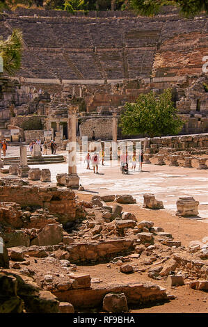 UNESCO world heritage site. Arcadiane and  Grand Theatre at Ephesus Ancient City. Selçuk, Izmir Province, Aegean Region. Turkey - Stock Photo