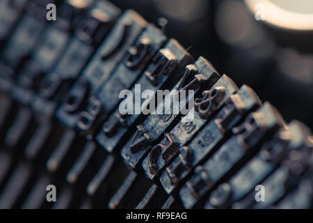 Typewriter typebars macro with selective focus