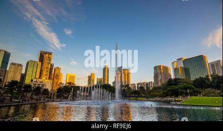 Lake Symphony outside Suria Mall at the Petronas Towers, Kuala Lumpur City Centre (KLCC), Malaysia - Stock Photo