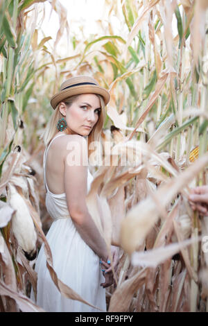Young caucasian woman in white dress at corn field evening autumn time - Stock Photo