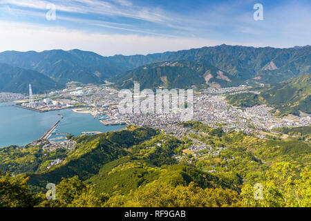 Town waterfront on the Kii Peninsula in Owase, Mie Prefecture, Japan. - Stock Photo