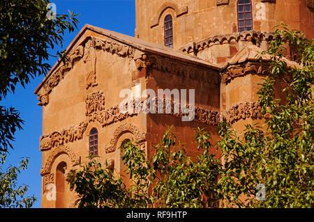 10th century Armenian Orthodox Cathedral of the Holy Cross on Akdamar Island. Lake Van, Turkey - Stock Photo