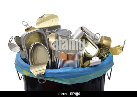 trash can (tin can food) full of cans on white - Stock Photo
