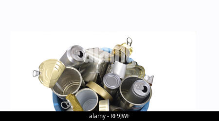 trash can (tin can food and drink) full of cans on white - Stock Photo