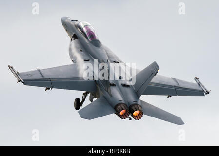 A Boeing F/A-18F Super Hornet multirole fighter jet of the United States Navy at the Royal International Air Tattoo 2016. Stock Photo