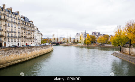 Paris (France) - Fall colors along the river Seine - Stock Photo