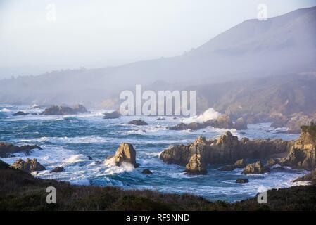 Waves crashing against the rocky shore of the Monterey Peninsula. - Stock Photo
