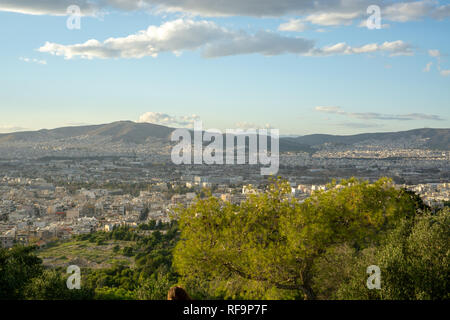 Philopappos Hill in Athens is a wonderful place to go for a walk. It also happens to be a favorite place for a stroll for Athenians. - Stock Photo
