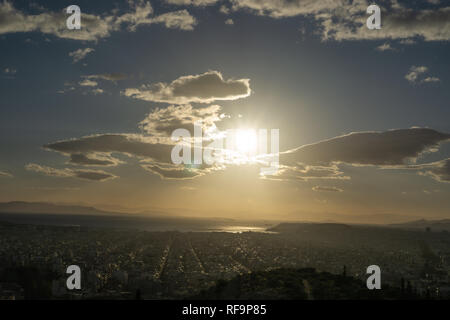The view of Athens was breathtaking and the sky was perfectly beautiful. Philopappos Hill close to Acropolis is a must see while in Athens. - Stock Photo