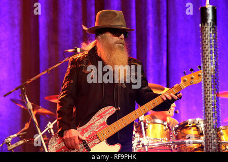 KINGSTON, NY - MARCH 13:  Dusty Hill of ZZ Top performs at Ulster Performing Arts Center on March 13, 2015 in Kingston, New York.  (Photo by Steve Mack/S.D. Mack Pictures) - Stock Photo