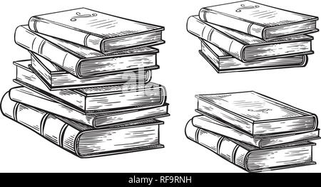hand drawn sketch stack books isolated on white background vector illustration. - Stock Photo