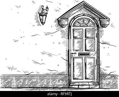 sketch hand drawn old wooden door in the wall with cornice vector illustration - Stock Photo