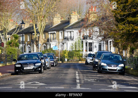 Leafy Victorian English street, part of the original Cliff Town Victorian development of Southend on Sea, Essex, UK. Runwell Terrace from Prittlewell - Stock Photo